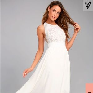 Lulus Forever and Always Lace Bodice Dress